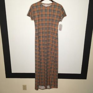 LuLaRoe Plaid Maria Dress Size S NWT